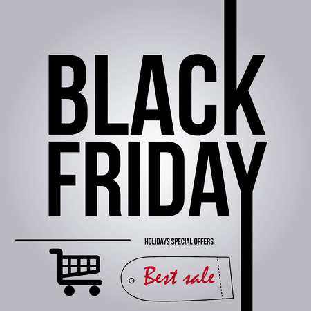 black sign: a grey background with text and a cart for black friday