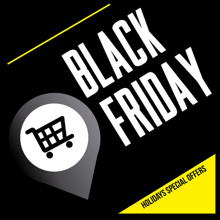a black background with text and a pin with a cart for black friday Vector