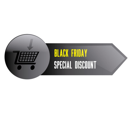 a grey banner with text and a cart for black friday