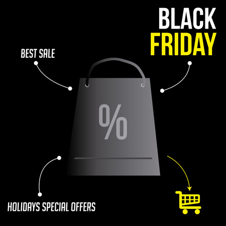 a black background with a bag and an infographic for black friday Vector