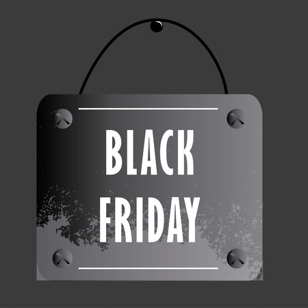 a grey metallic signal with text for black friday Vector