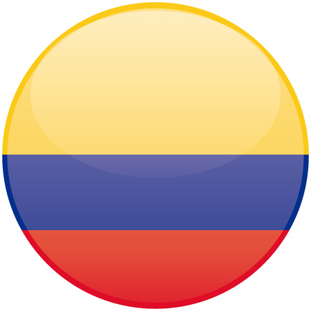 a round badge with the colombian flag on a white background Ilustracja
