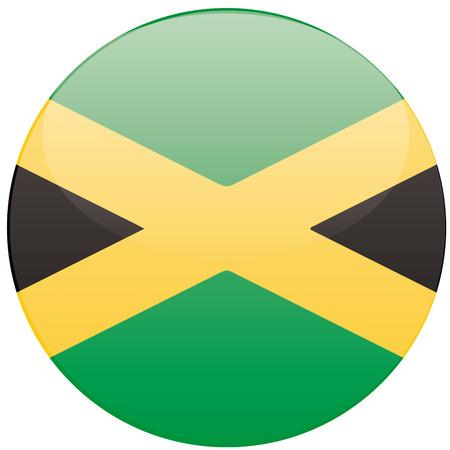 jamaican: una insignia redonda con la bandera jamaicana en un fondo blanco
