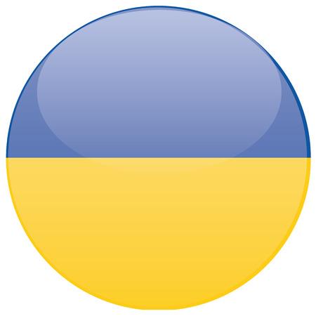 ukrainian flag: a round badge with the ukrainian flag on a white background