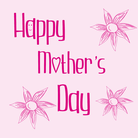 a pink background with text and flowers for mothers day Vector