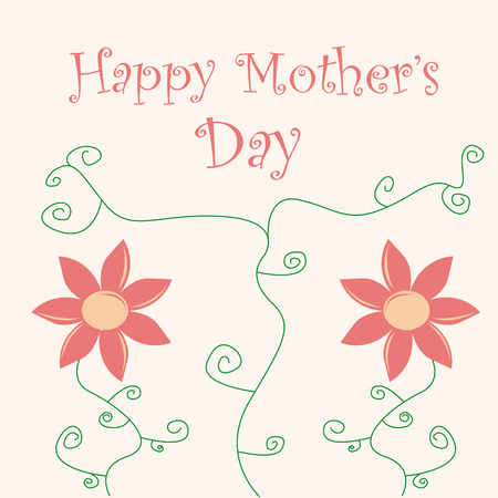 a pink background with a pair of flowers and text for mothers day Vector