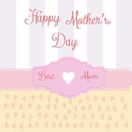 a vintage background with text, stripes and hearts for mothers day Vector