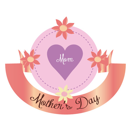heart with text: an isolated button with flowers, a heart, text and a ribbon for mothers day
