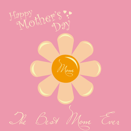 an isolated flower, text and hearts on a pink background for mothers day Vector