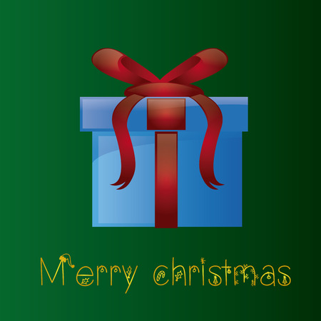 a green background with golden text and a blue present Vector