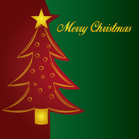 a colored background with a red christmas tree and a star Vector