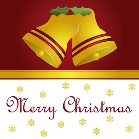 a colored background with a pair of bells, text and snowflakes for christmas Vector