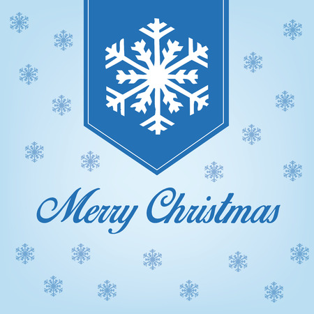 a blue background with snowflakes and text for christmas Vector