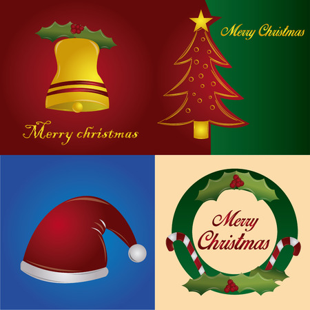a set of colored backgrounds with different elements for christmas Vector