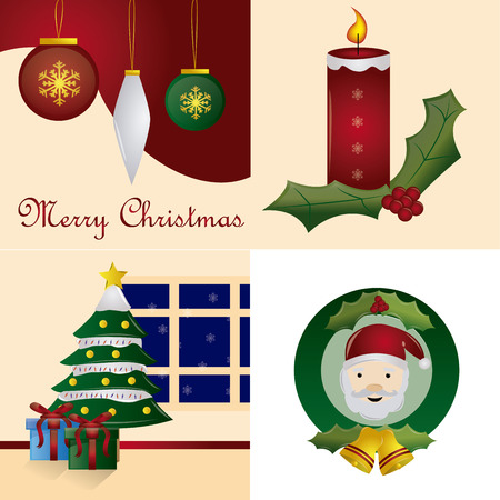 a set of four colored backgrounds with different elements for christmas Vector