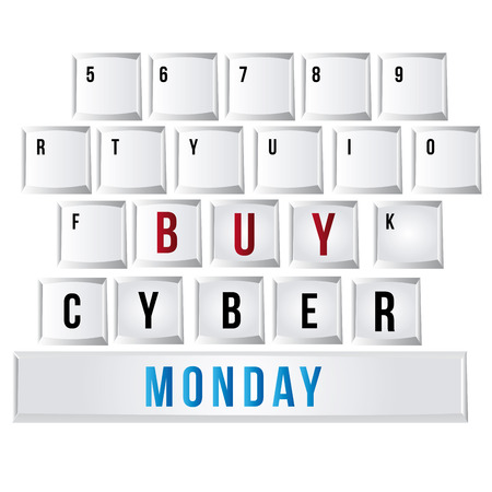 a keyboard with special buttons for this cyber monday Vector