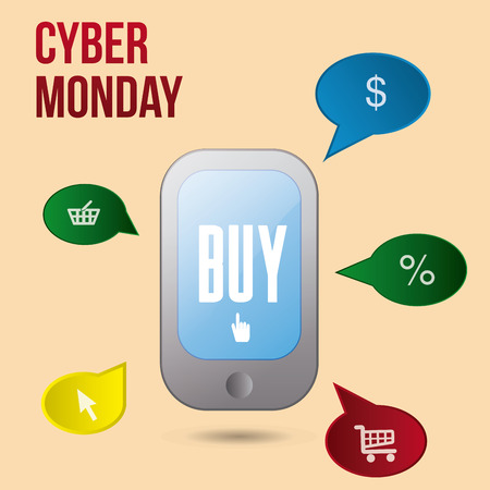 an isolated cellphone with colored chat bubbles and icons for cyber monday