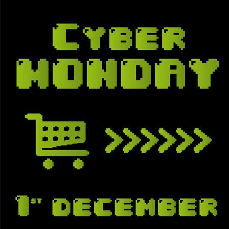 czarnym tle z zielono i koszyk dla cyber poniedziałek