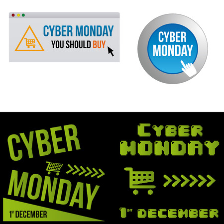 a set of different backgrounds with different elements for cyber monday Vector