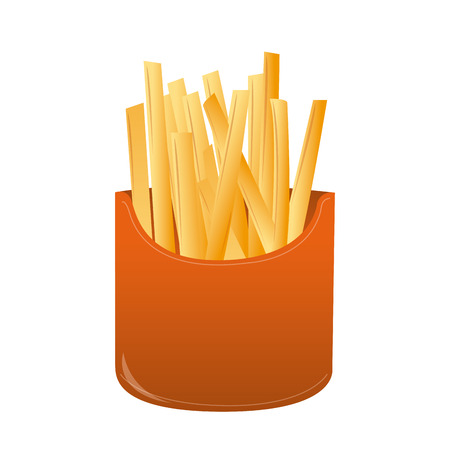 portion: an isolated portion of french fries on a white background Illustration