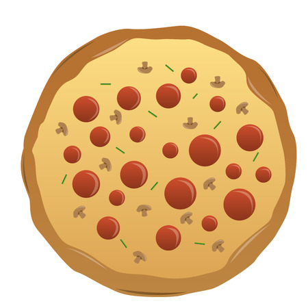 pepperoni: an isolated pizza with pepperoni on a white background