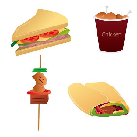 zestaw różnych fast food na białym tle