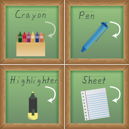 a set of four green boards with different school supplies Vector