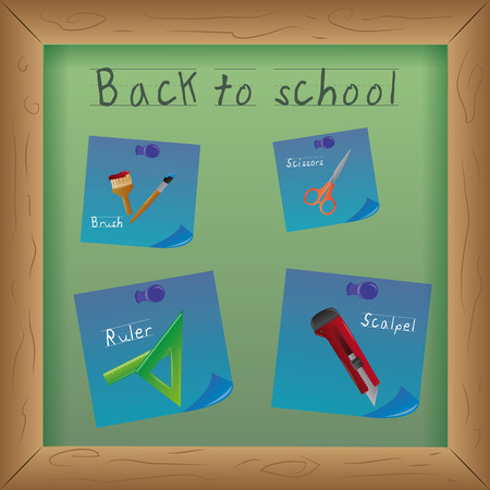 a green board with blue papers and different school supplies Vector