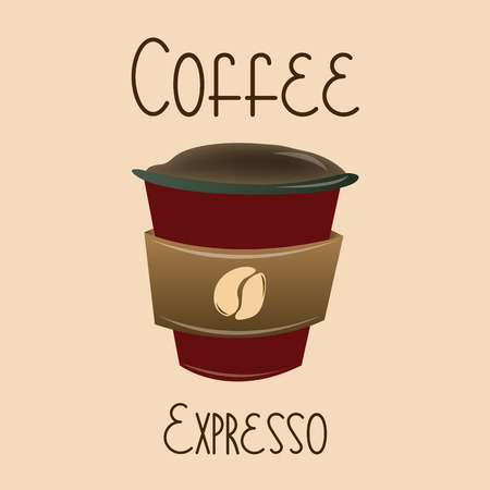 expresso: an isolated plastic cup on a light brown background with text