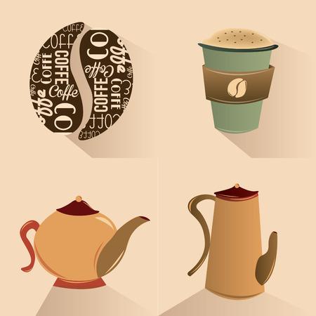 izole nesneleri: kahverengi zemin üzerine kahve ile ilgili dört izole nesneleri