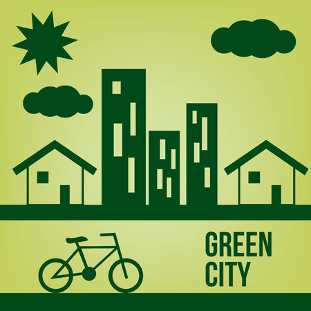 a green cityscape with buildings and a bicycle Vector