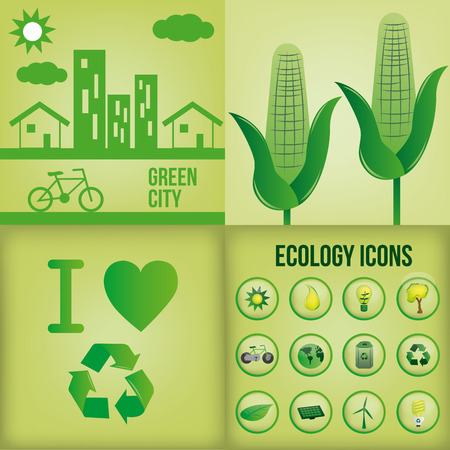 a set of four green backgrounds with different elements or icons Vector