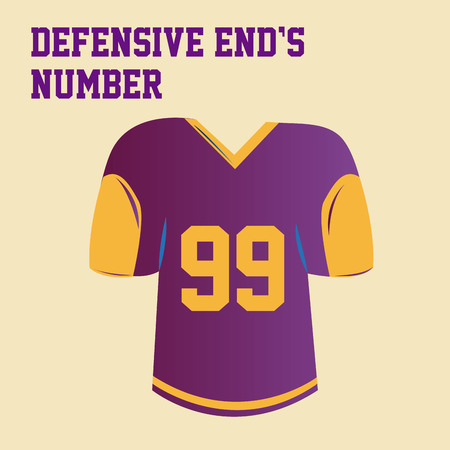 defensive: an isolated purple shirt with the defensive ends number