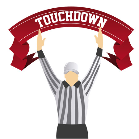 a referee with both hands up as a touchdown signal and a ribbon with text