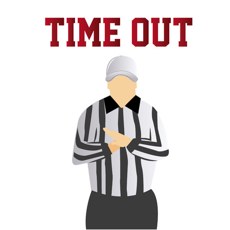 a referee doing a time out signal on a white background with text