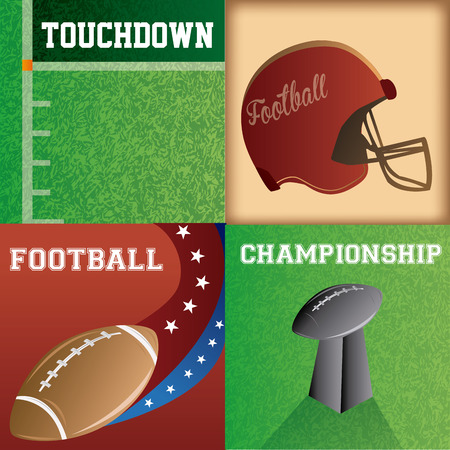 a set of colored backgrounds with different football related elements Vector