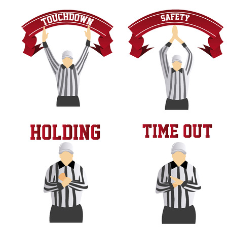 a set of different referee signals on a white background Stock Illustratie