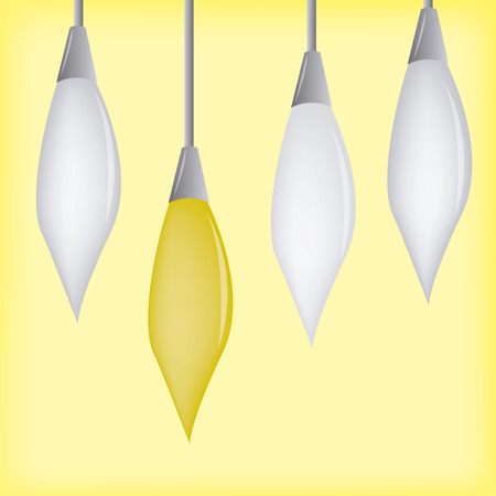 hanging out: a group of light bulbs hanging out on a yellow background Illustration