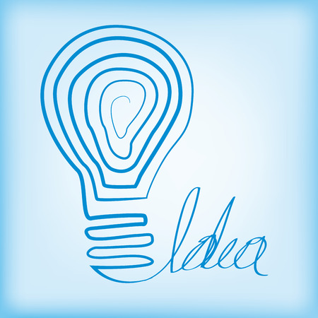 a blue light bulb on a blue background with text Vector