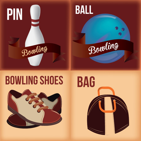 a set of four colored backgrounds with bowling related elements Vector