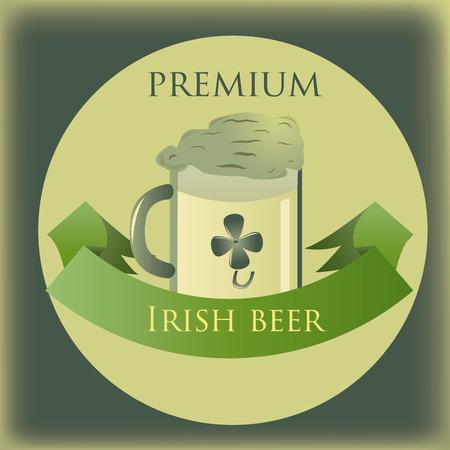 irish beer label: a beer mug with foam on a green irish label Illustration
