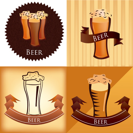 a set of four different labels and backgrounds with text and beer Vector