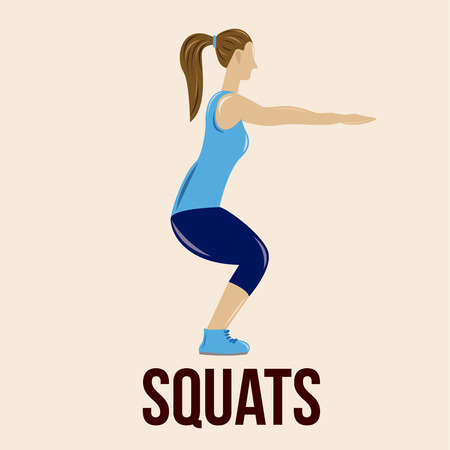 an isolated woman doing squats on a colored background Illustration