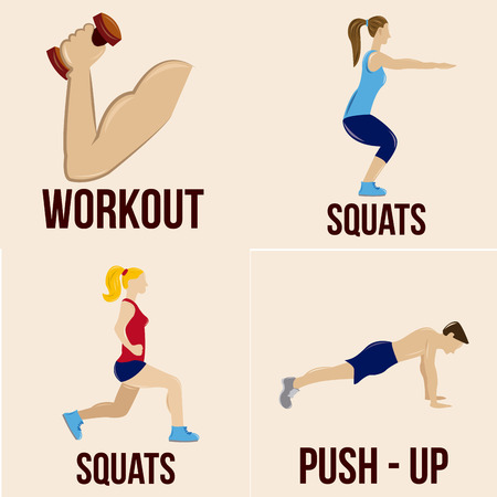 a set of different fitness related elements on a white background
