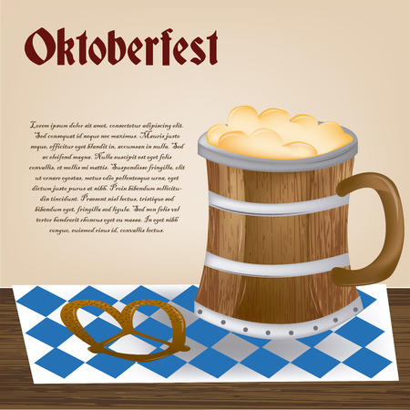 iron fun: a mug of beer with a pretzel and text for oktoberfest