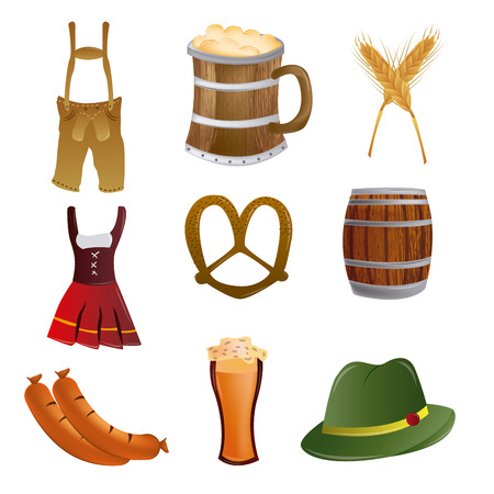a set of oktoberfest related elements on a white background Vector