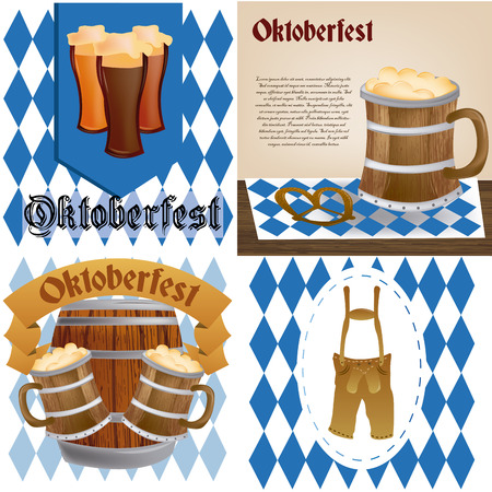 a set of different backgrounds with different elements for oktoberfest Vector