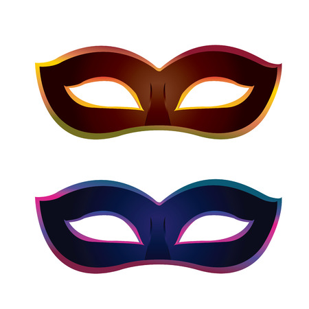 mardi grass: a pair of carnival mask on a white background