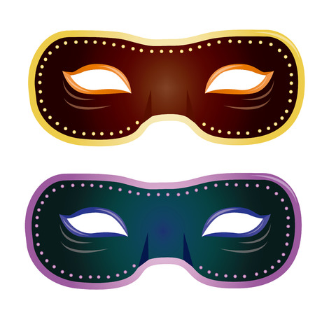 mardi grass: a pair of carnival masks on a white background