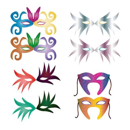 mardi grass: a set of carnival masks on a white background